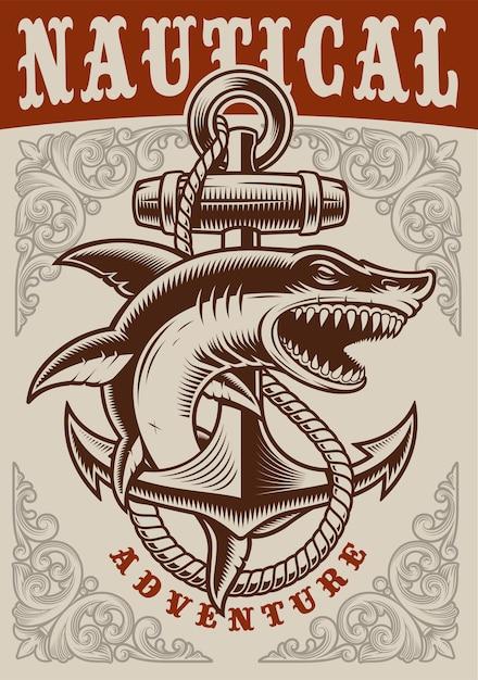 Affiche Vintage Nautique Avec Ancre Et Requin Sur Fond Blanc Vecteur Premium