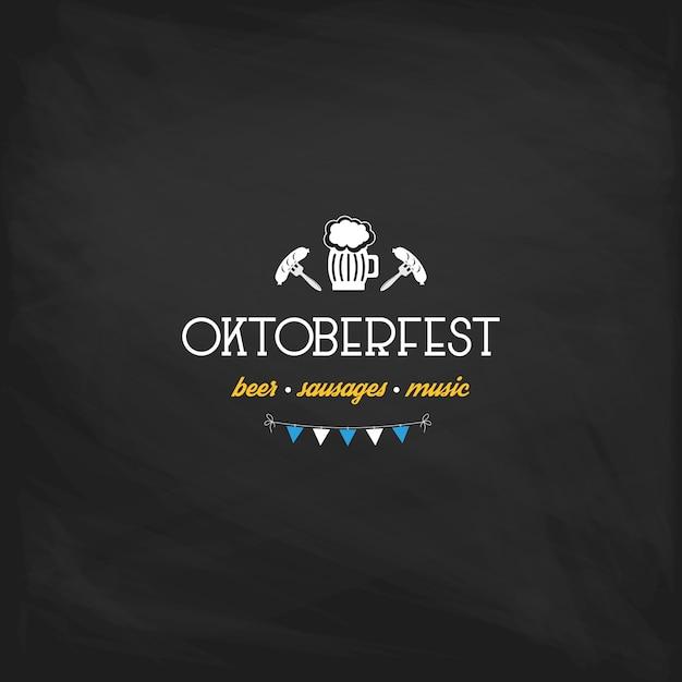 Affiche vintage oktoberfest ou carte de voeux sur un fond de tableau Vecteur Premium