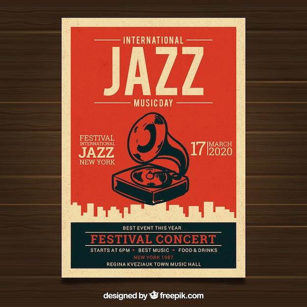 Affiche vintage pour la journée internationale du jazz Vecteur gratuit