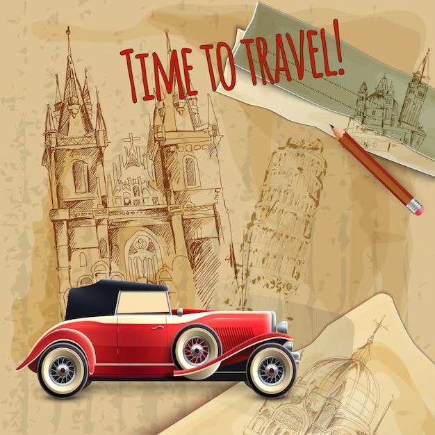 Affiche vintage de voiture de voyage de l'europe Vecteur gratuit