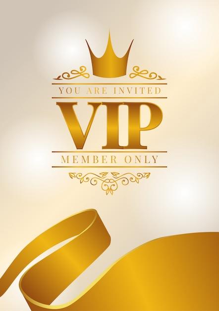 Affiche vip avec couronne dorée Vecteur Premium