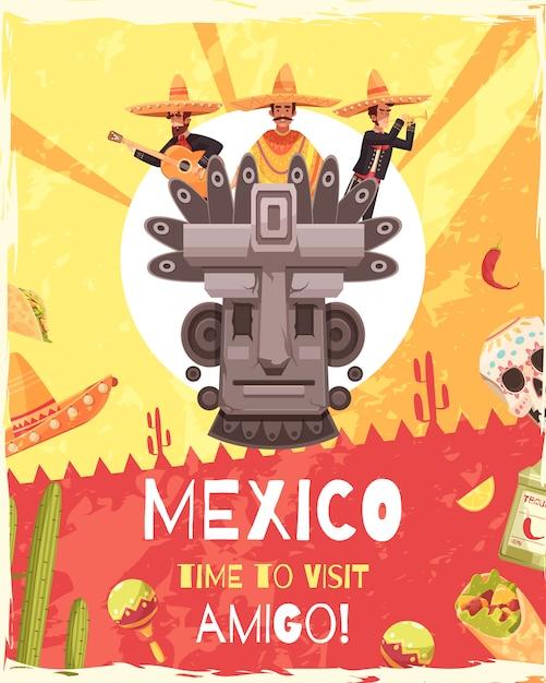 Affiche de voyage au mexique Vecteur gratuit
