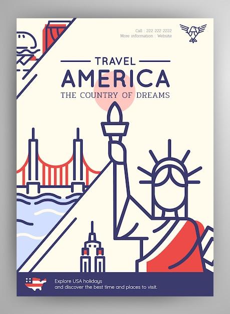 Affiche de voyage des états-unis Vecteur Premium