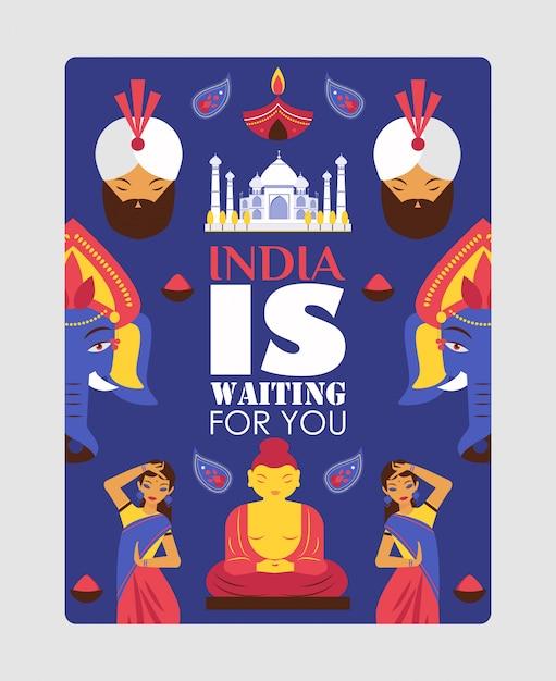 Affiche de voyage en inde, citation de typographie l'inde vous attend Vecteur Premium