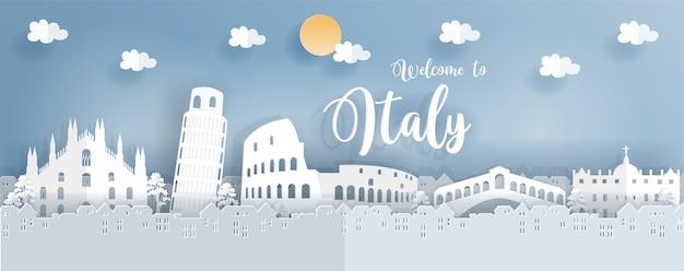 Affiche de voyage avec l'italie célèbre point de repère en style de coupe de papier Vecteur Premium