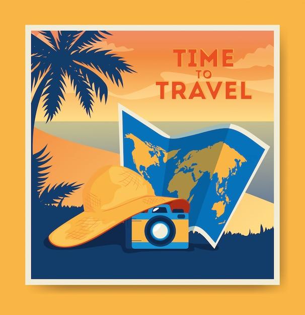 Affiche De Voyage Avec Plage, Carte Et Appareil Photo Vecteur gratuit
