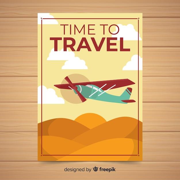Affiche de voyage plat vintage Vecteur gratuit