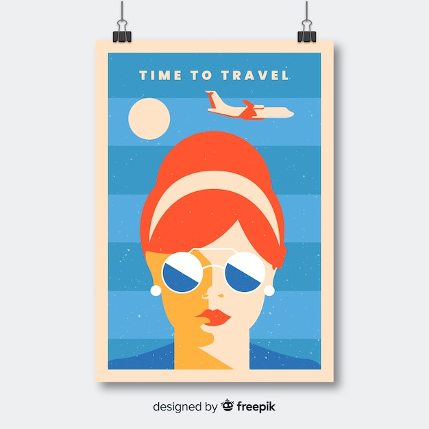Affiche de voyage promotionnelle plate vintage Vecteur gratuit