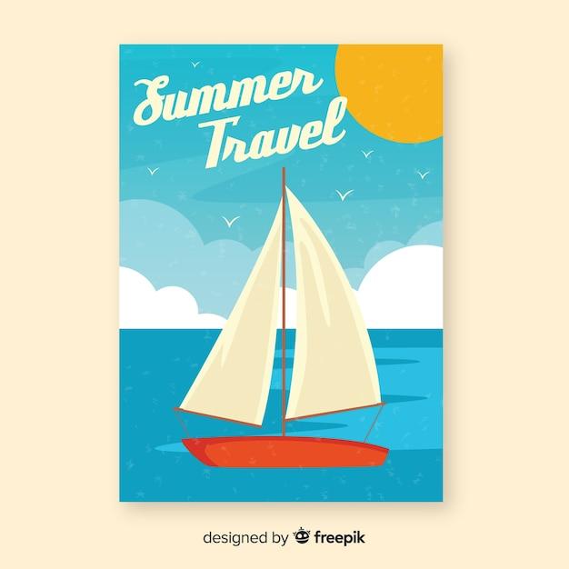Affiche de voyage vintage de bateau plat Vecteur gratuit