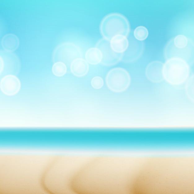 Affiche de vue de bord de mer de voyage. Vecteur Premium