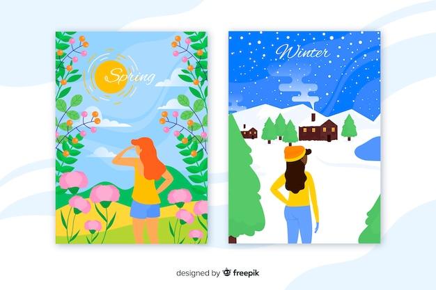 Affiches colorées printemps et hiver Vecteur gratuit