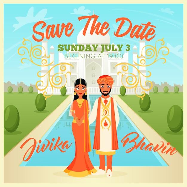 Affiches de couple de mariage indiens Vecteur gratuit
