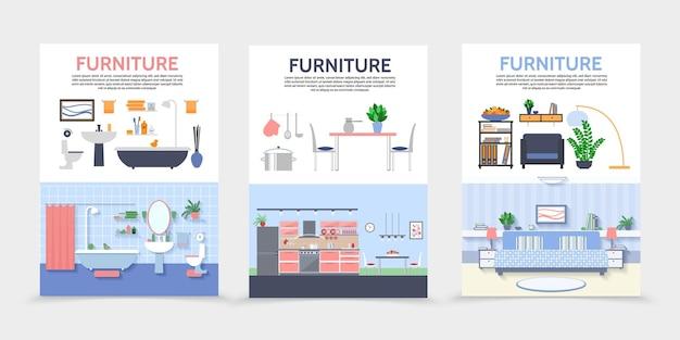 Affiches Intérieures De Maison Plate Avec Illustration De Meubles Et Accessoires De Salle De Bains De Cuisine Vecteur gratuit