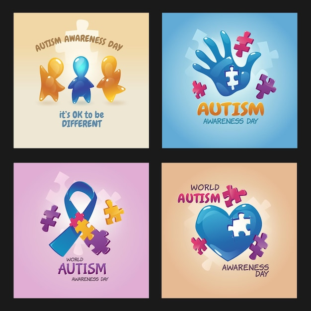 Affiches De La Journée Mondiale De Sensibilisation à L'autisme Avec Pièces De Puzzle, Paume Ouverte Avec Trou, Ruban Bleu, Figures D'enfants Agitant Les Mains Et Le Cœur Vecteur gratuit