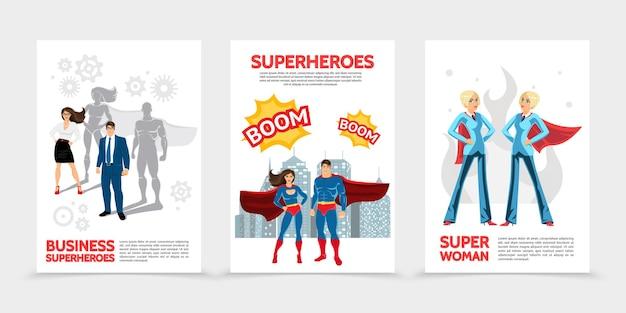 Affiches De Personnages De Super-héros Plats Avec Des Super-héros En Costumes Et Capes Bulles Vecteur gratuit