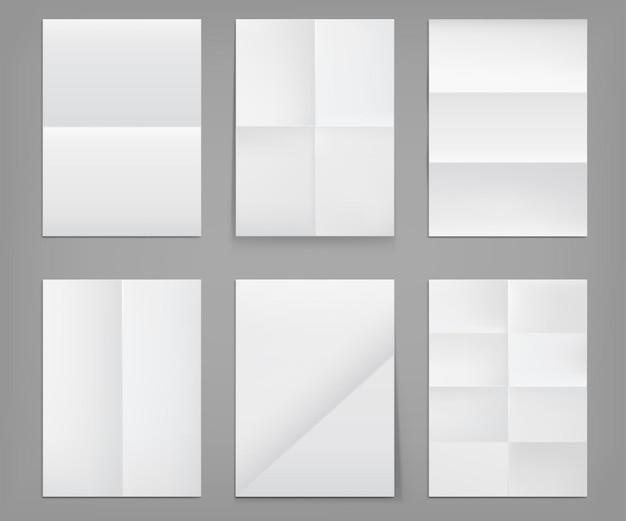 Affiches Pliées, Feuilles Vierges De Papier Blanc De Texture Froissée Vecteur gratuit