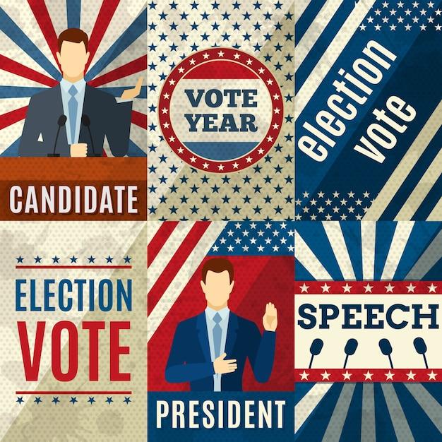 Affiches politique vintage Vecteur gratuit