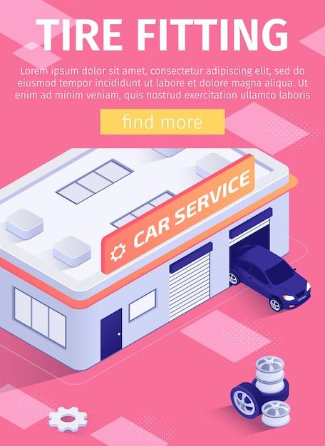 Des affiches pour les médias proposent un service de montage de pneus Vecteur Premium