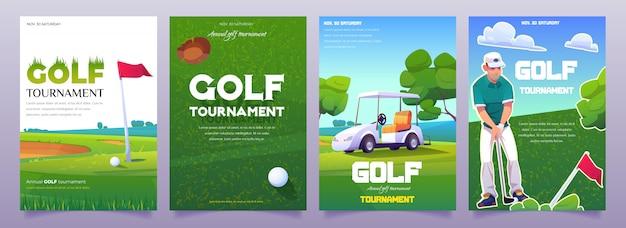 Affiches De Tournois De Golf De Dessin Animé Vecteur gratuit
