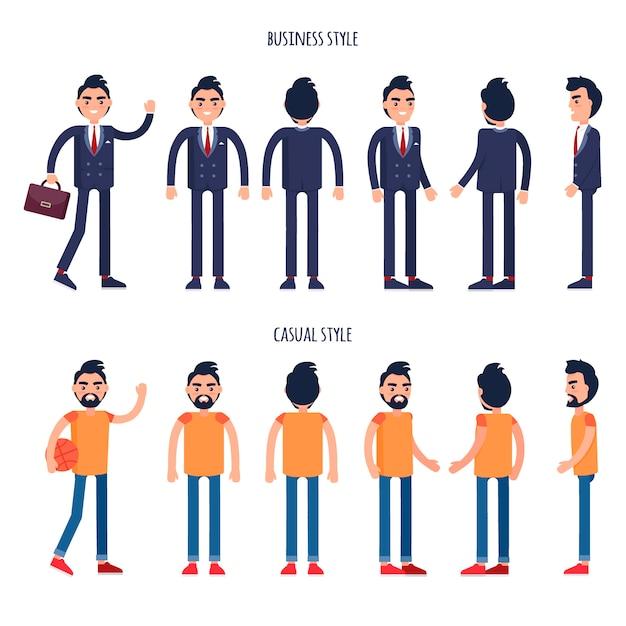 Affiches de vecteur de styles d'affaires et occasionnels avec des hommes Vecteur Premium