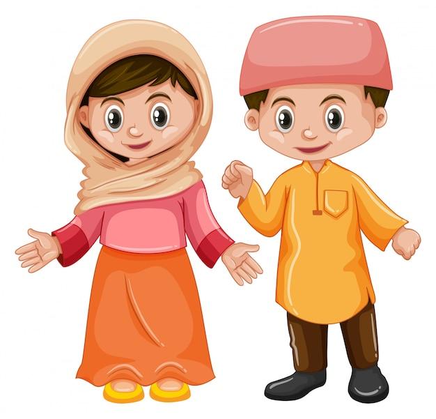 Afghanistan garçon et fille au visage heureux Vecteur gratuit
