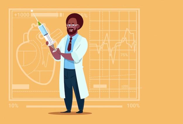 Afro-américain, docteur, tenue, seringue, clinique, ouvrier, hôpital Vecteur Premium