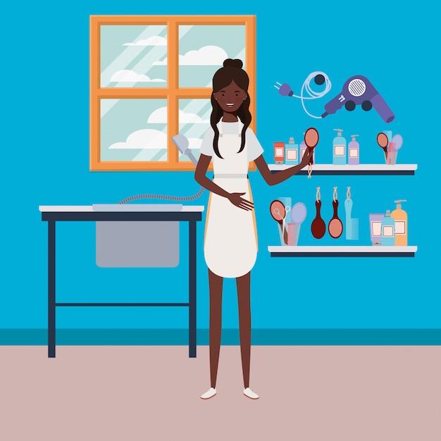 Afro femme styliste travaillant dans la scène de travail de salon Vecteur Premium