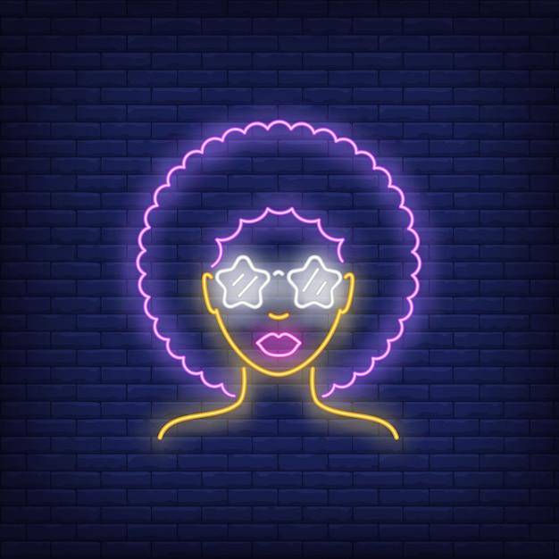 Afro retro girl néon Vecteur gratuit