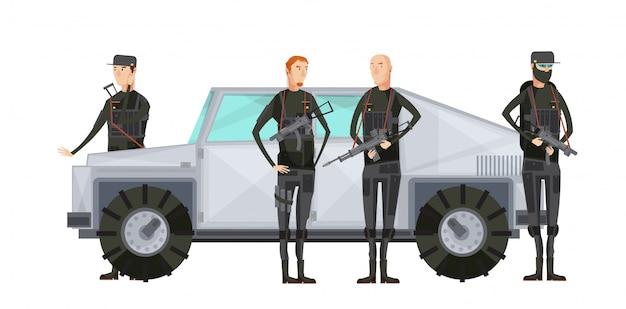 Agence de renseignement plat composition colorée avec des travailleurs des services spéciaux debout près de l'illustration vectorielle de voiture blindée Vecteur Premium