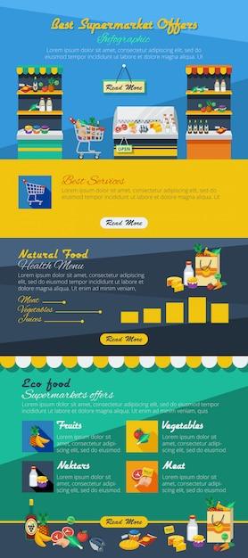 Agencement plat de supermarché infographique avec la meilleure offre de produits publicitaires et d'aliments naturels et écologiques Vecteur gratuit