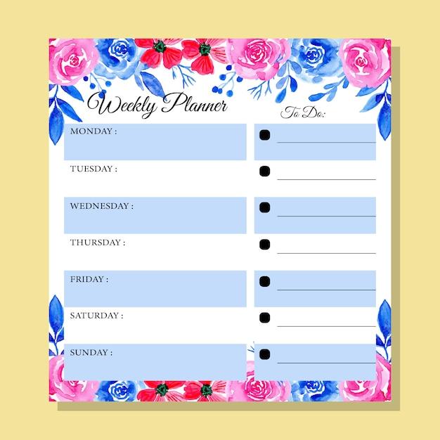 Agenda bleu et rose avec aquarelle florale Vecteur Premium