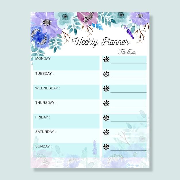 Agenda hebdomadaire avec aquarelle florale bleu tendre Vecteur Premium