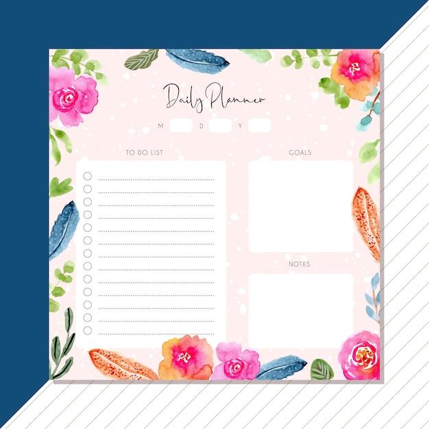 Agenda quotidien avec plume d'aquarelle et cadre floral Vecteur Premium