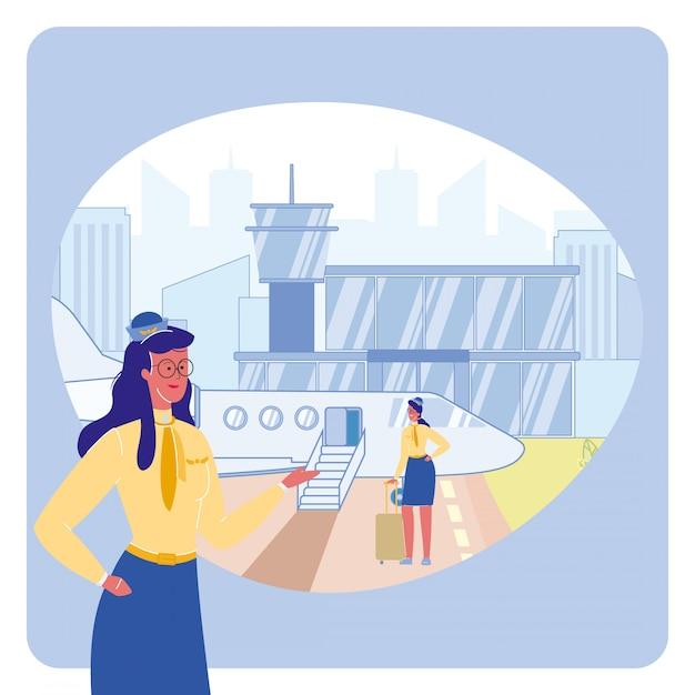 Agent de bord en illustration vectorielle aéroport Vecteur Premium
