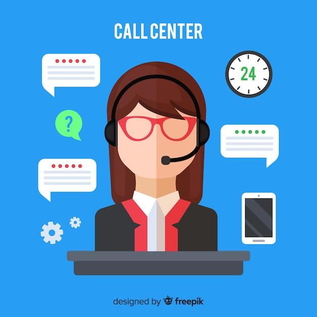 Agent de centre d'appel féminin Vecteur gratuit