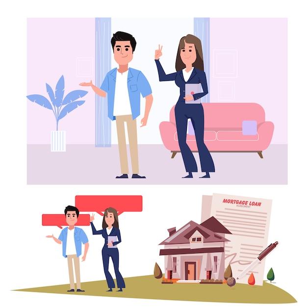 Agent Immobilier Avec Les Clients - Illustration Vecteur Premium