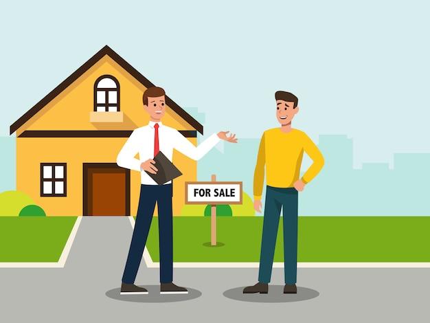 Agent immobilier montrant la maison qu'il a vendue à l'acheteur Vecteur Premium