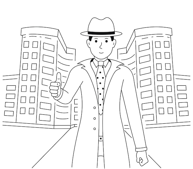L'agent Immobilier Montre Les Pouces Vers Le Haut. Un Homme De Bonne Humeur Montre Un Geste D'approbation Ou D'accord. Un Gars Vêtu D'un Costume Et D'un Chapeau Se Tient Près Du Bâtiment Vecteur Premium
