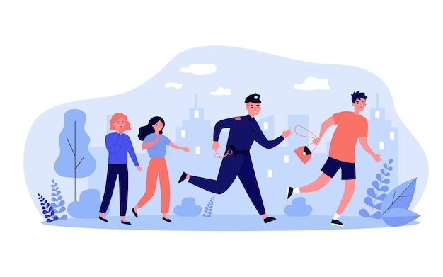 Agent De Police Poursuivant Un Voleur Pour Illustration D'arrestation Vecteur Premium