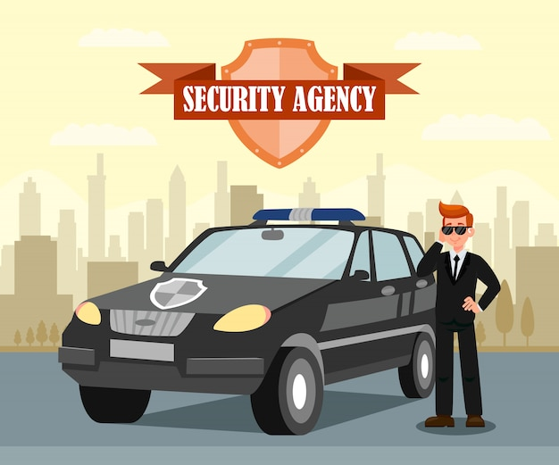 Agent Secret Et Illustration Vectorielle Plane Voiture Vecteur Premium