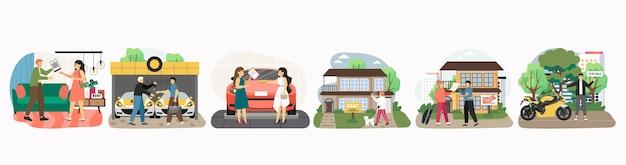 Agents, Concessionnaires Et Clients Achetant Ou Louant Une Nouvelle Maison, Une Voiture, Une Moto, Un Jeu De Personnages De Dessins Animés, Un Appartement. Location De Voitures, Maison, Vente Et Achat De Propriétés, Service D'agence Immobilière. Vecteur Premium