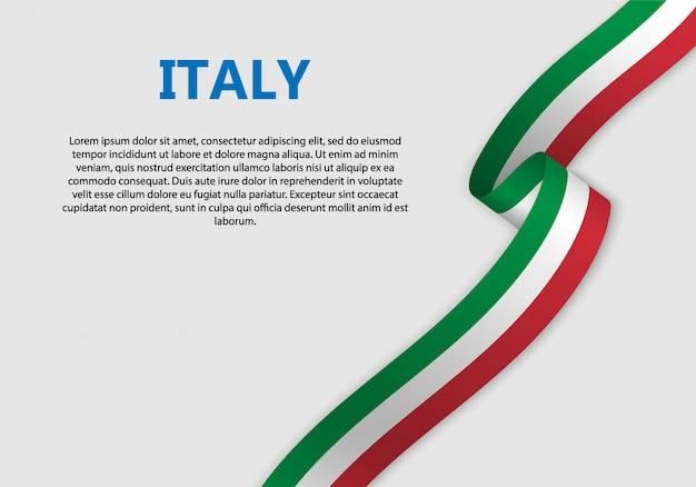 Agitant la bannière du drapeau italien Vecteur Premium