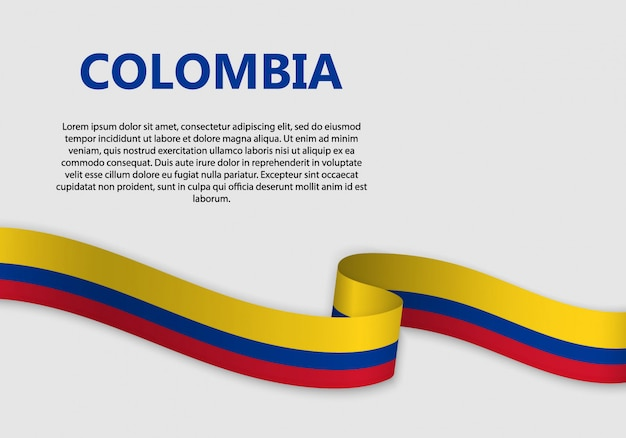 Agitant Le Drapeau De La Colombie Bannière Vecteur Premium