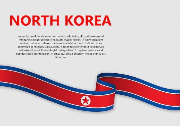 Agitant le drapeau de la corée du nord, illustration vectorielle Vecteur Premium