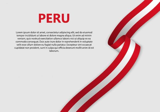 Agitant Le Drapeau Du Pérou Bannière Vecteur Premium
