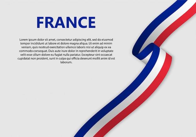 Agitant Le Drapeau De La France Vecteur Premium