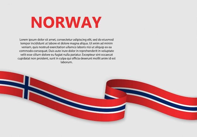 Agitant le drapeau de la norvège Vecteur Premium