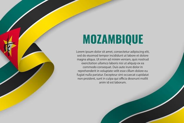 Agitant Un Ruban Ou Une Bannière Avec Le Drapeau Du Mozambique Vecteur Premium