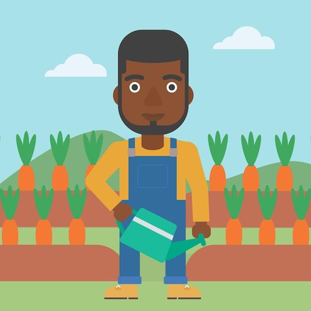 Agriculteur avec arrosoir Vecteur Premium