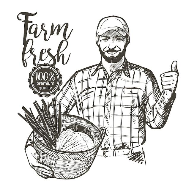 Agriculteur en casquette portant un panier rempli de légumes frais, tomates et herbes Vecteur Premium